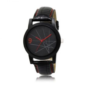 1813 Unique & Premium Analogue Watch Lines with black Dial Leather Strap (Watch 13) -